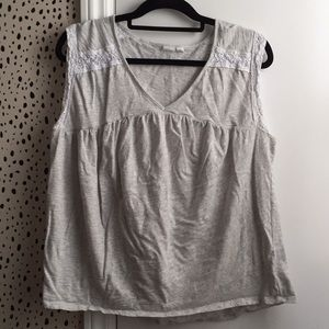 Gap heather gray tank with lace detail XL